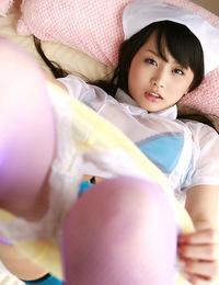 Steamy asian idol in a cute little nurse costume to please you
