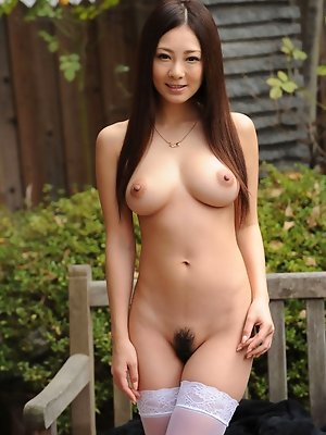 Minori Hatsune Asian in white stockings shows nude boobs outdoor