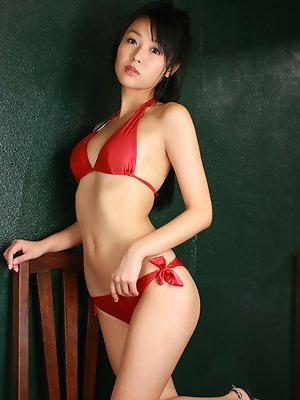 Miyu Watanabe Asian in red lingerie is a true delight for eyes